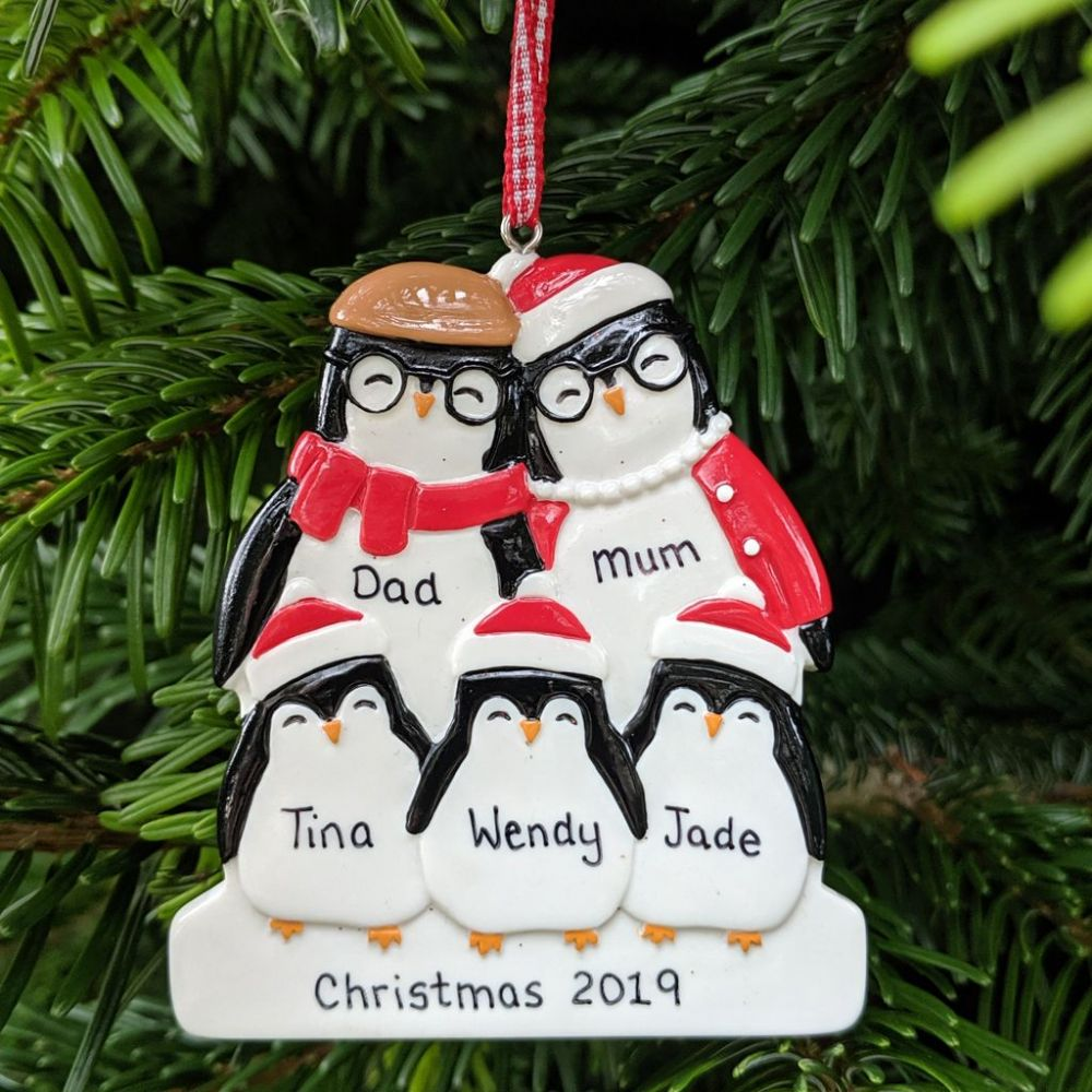 Personalised Penguin Family of 5 Dressed